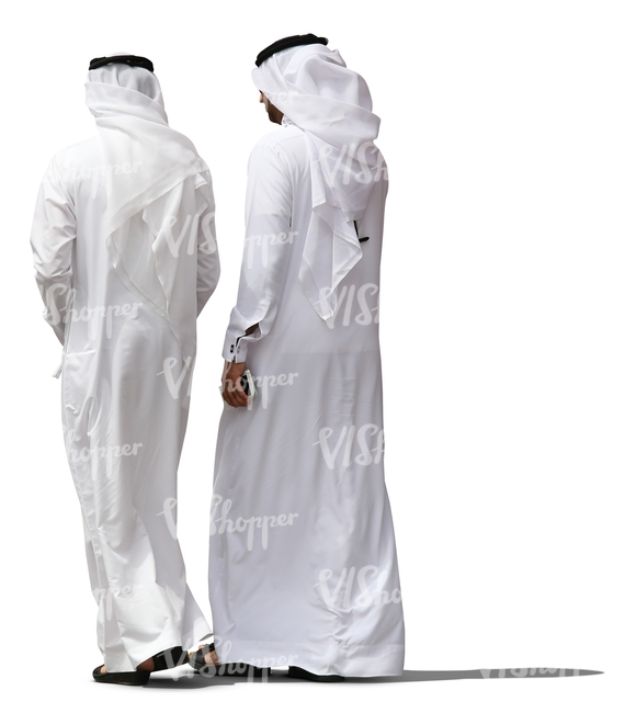 two arab man wearing dishdashas walking