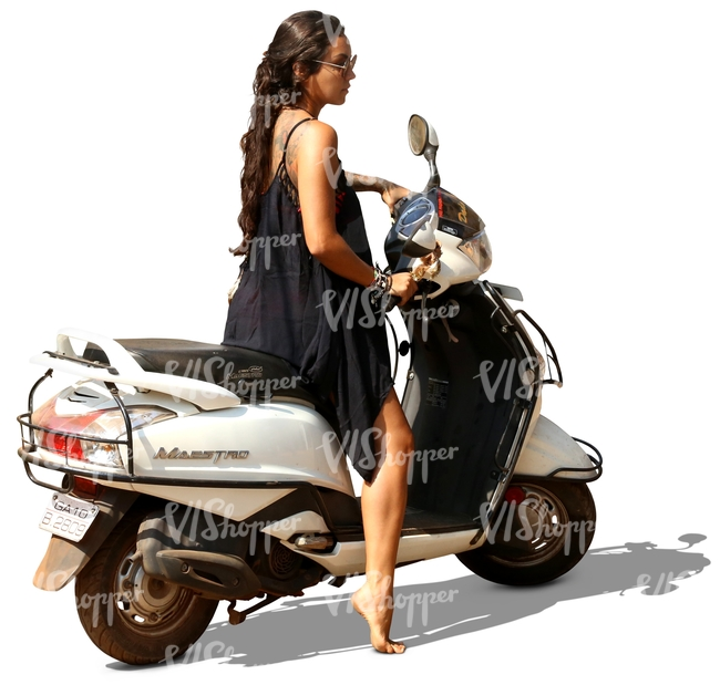 woman in a black dress on a scooter