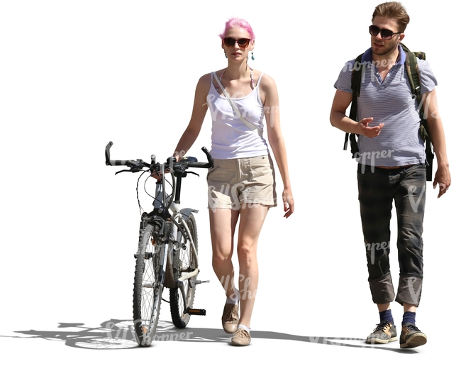 man walking with a woman who has a bike