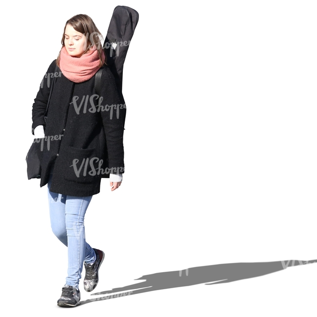 woman with a musical instrument walking