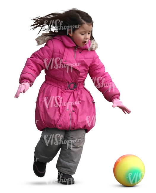 asian child in a pink jacket playing with a ball