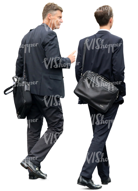 two businessmen in suits walking and talking