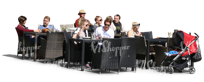 outdoor cafe scene with people eating and drinking