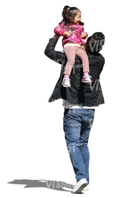 asian man carrying his laughing daughter on his shoulder