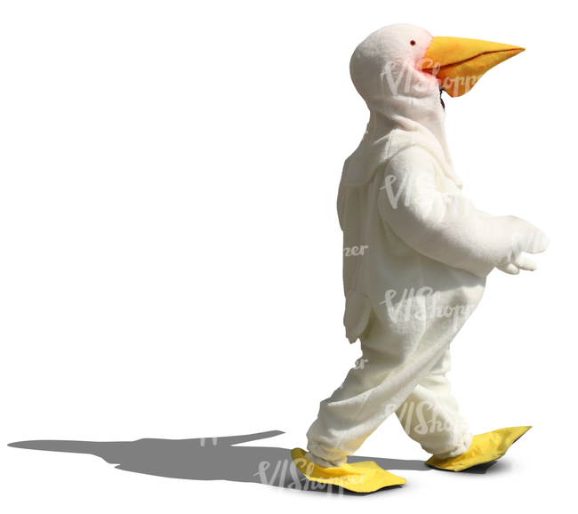 person in a duck costume walking in the sunlight