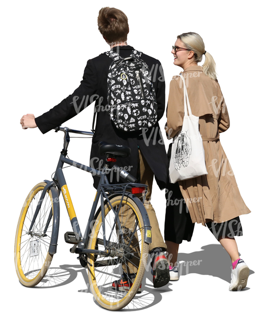 man with a bike walking with a blonde woman