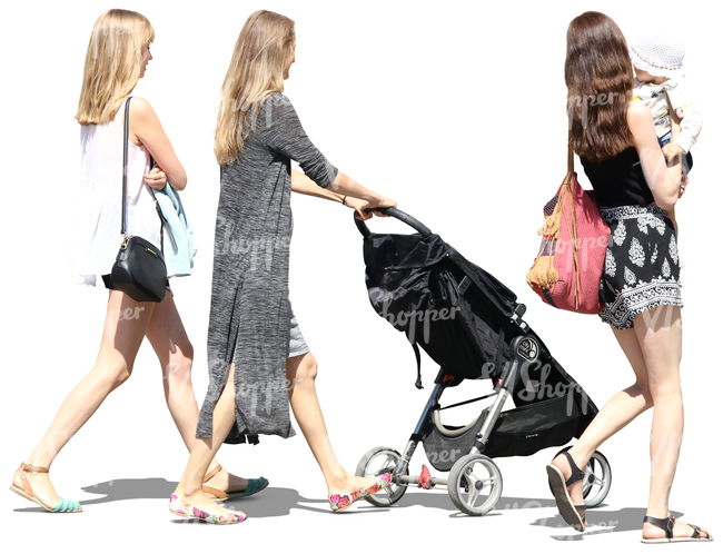 three women with baby carriage walking a baby