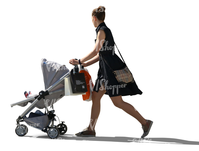 woman in a black dress pushing a baby carriage