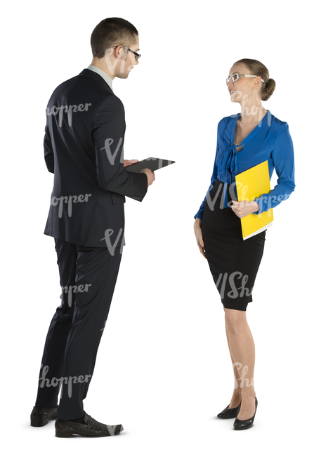 businessman and businesswoman standing and talking