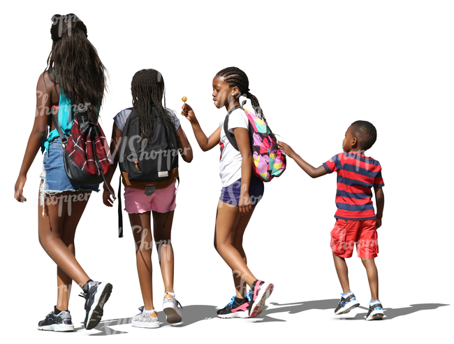 four black children at different ages walking side by side