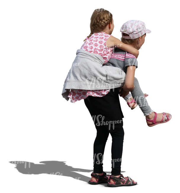 one girl carrying another on her back