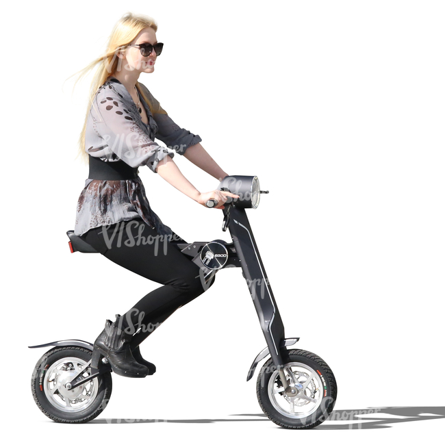 blonde woman riding a trendy scooter