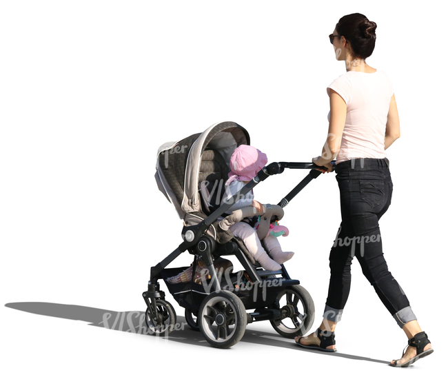 woman walking her baby