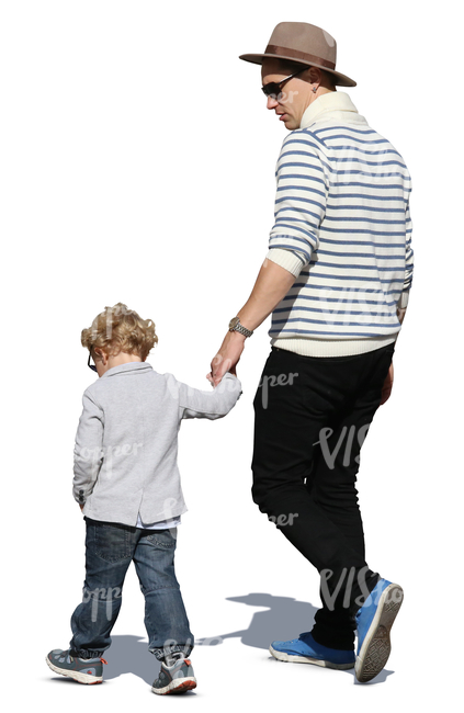 man walking hand in hand with his young son