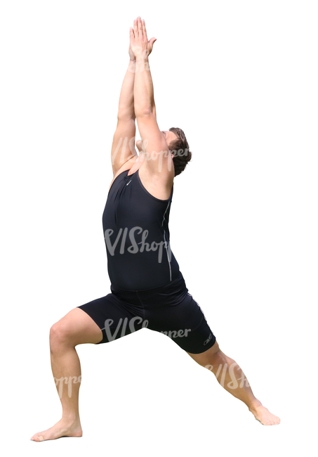 man doing yoga exercises