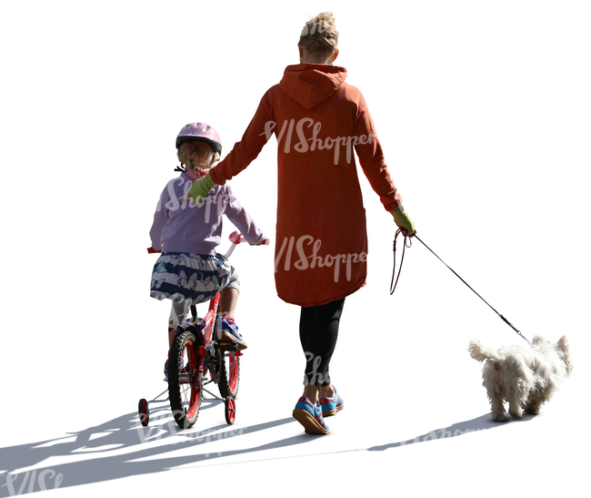 mother walking with her daughter who is riding a bike