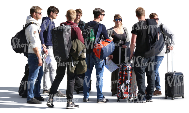 group of young people with suitcases standing together