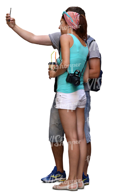 couple standing and taking a selfie together