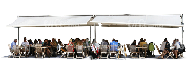 cut out scene of a street cafe with people sitting and talking