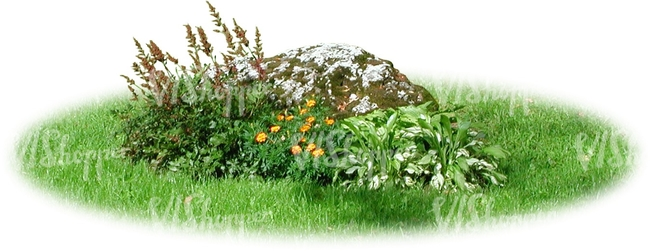 small flowerbed with a stone
