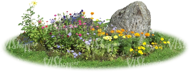 flowerbed with stones