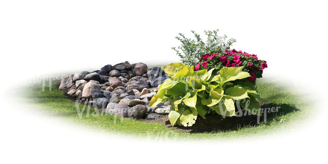 cut out flowerbed with rocks