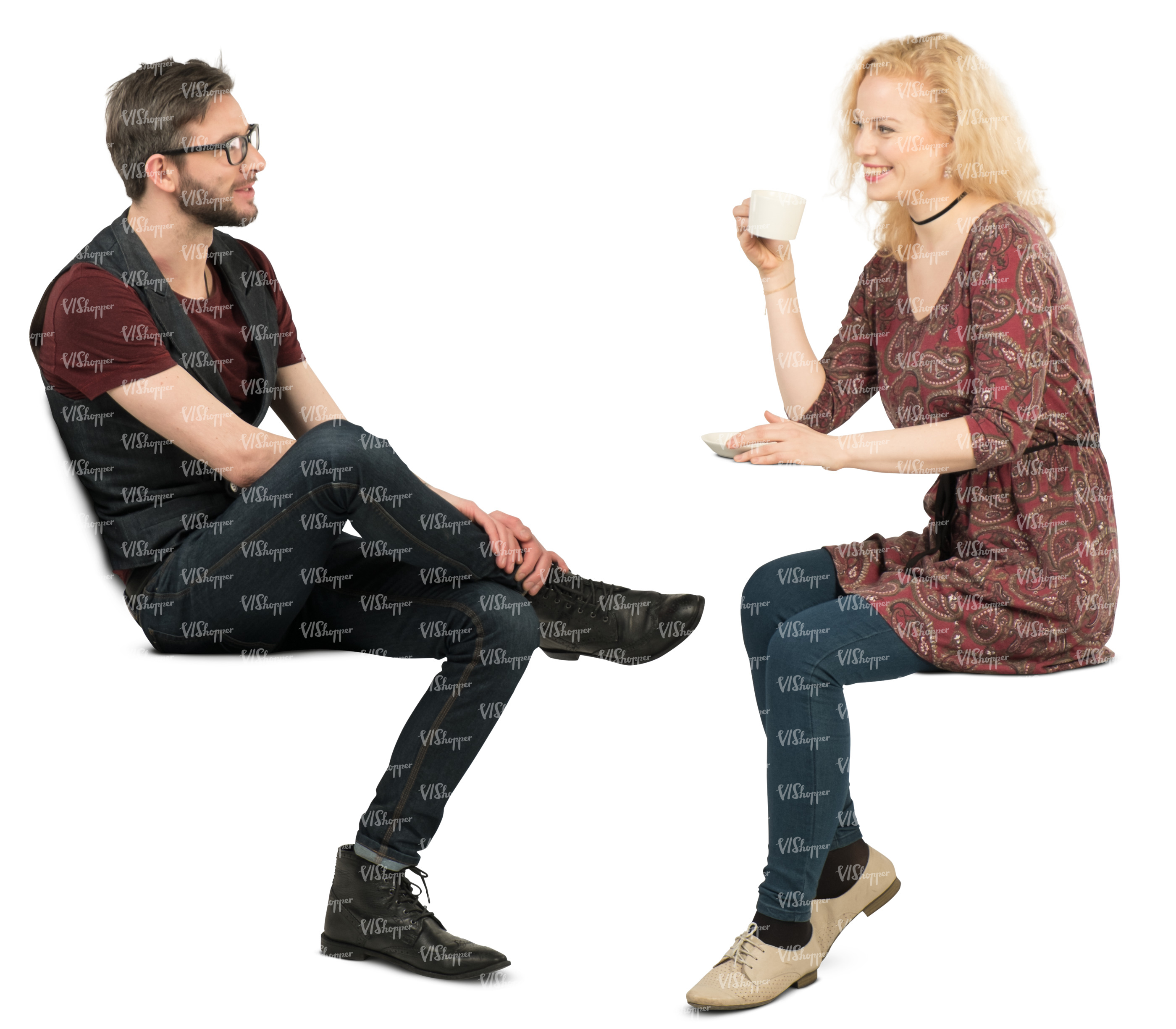 man and woman sitting in a cafe and talking cut out