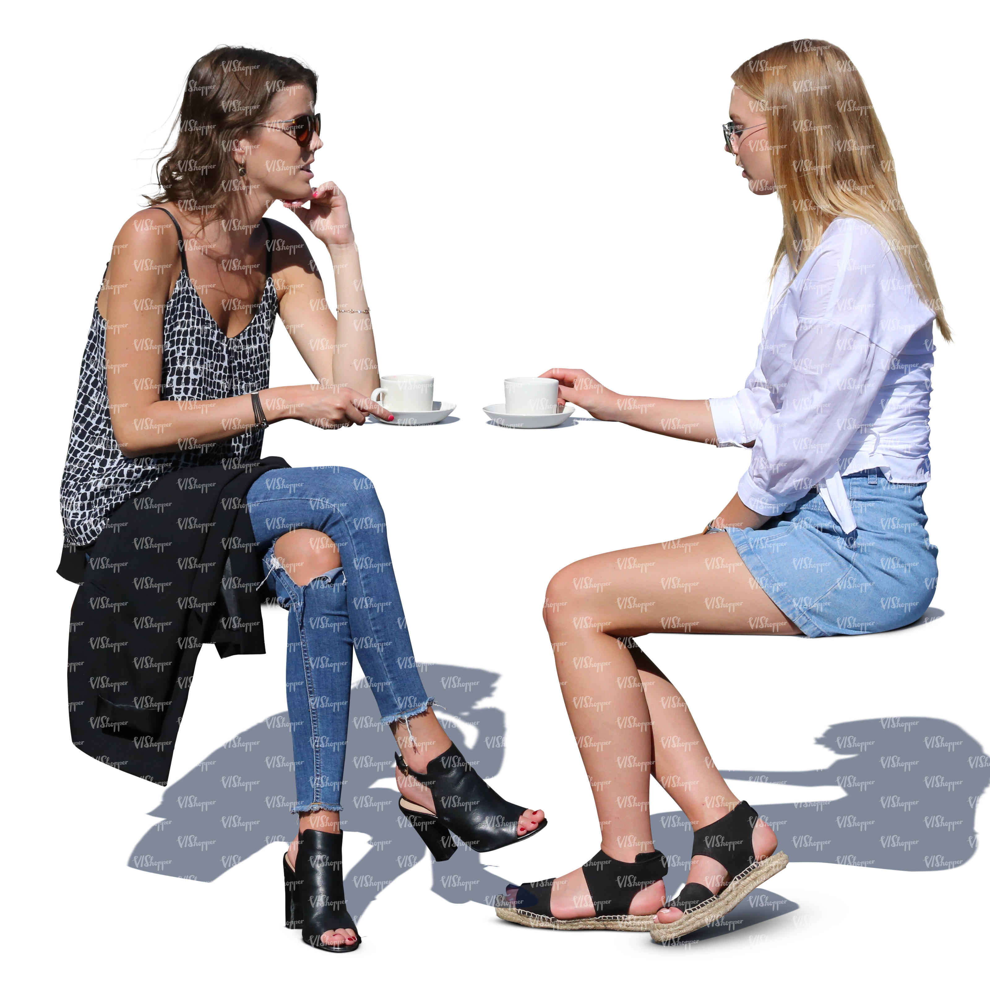 Two Women Sitting In A Cafe And Drinking Coffee Cut Out