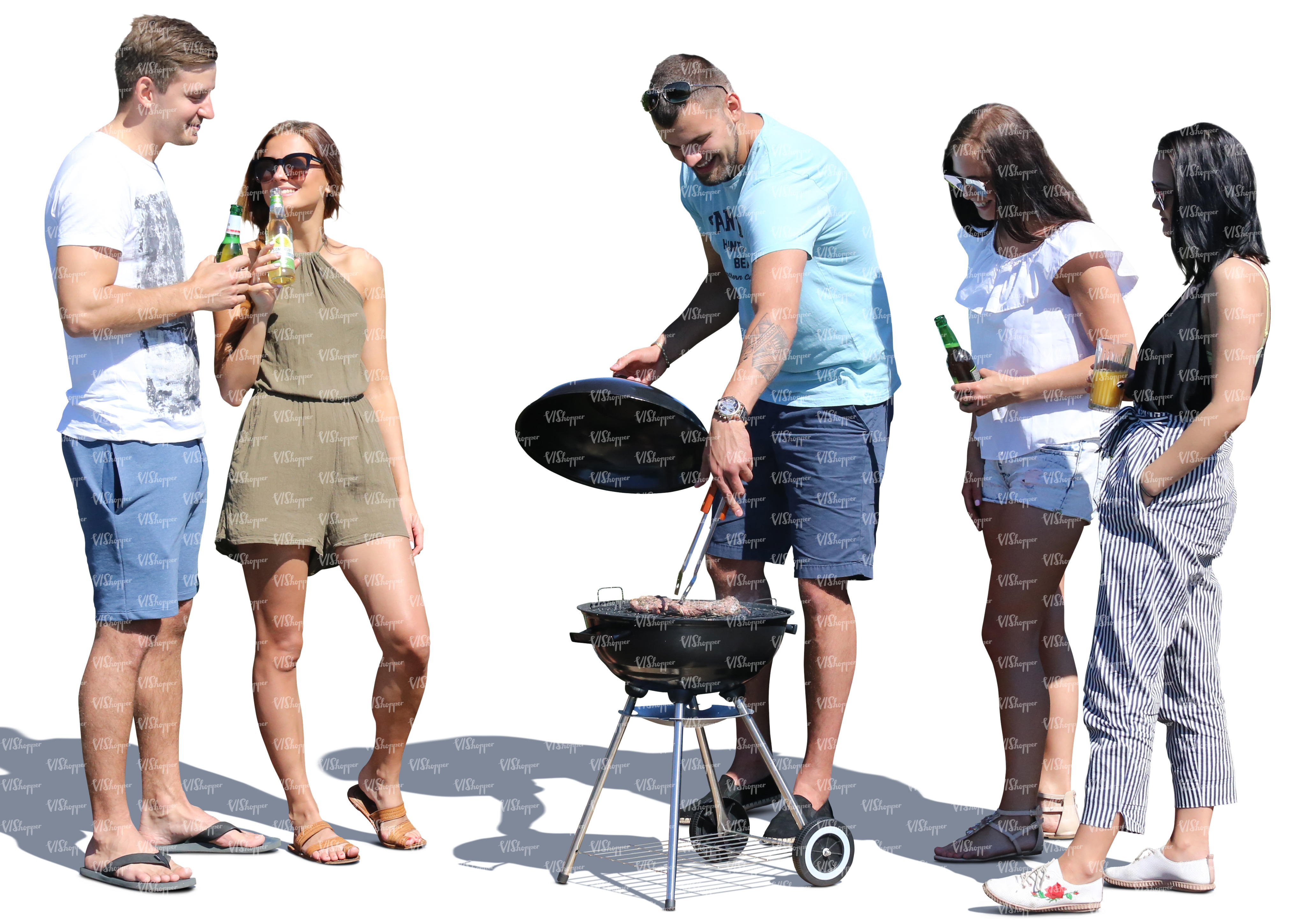 group of young men and women having a barbeque party cut out