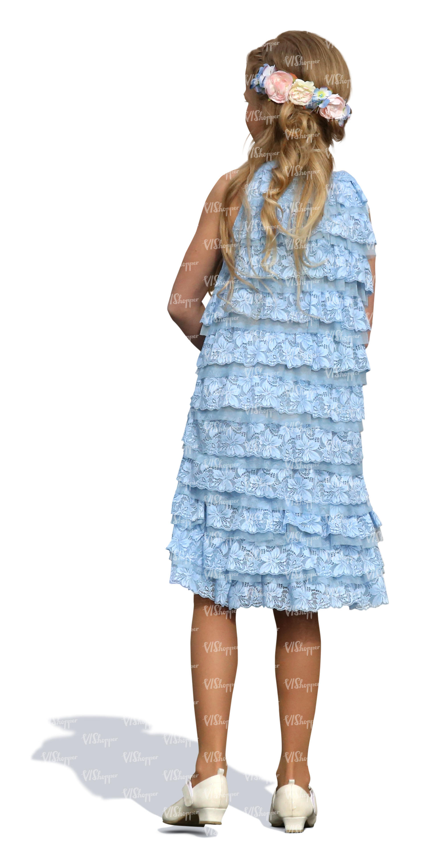 little girl in a blue party dress standing - cut out people - VIShopper