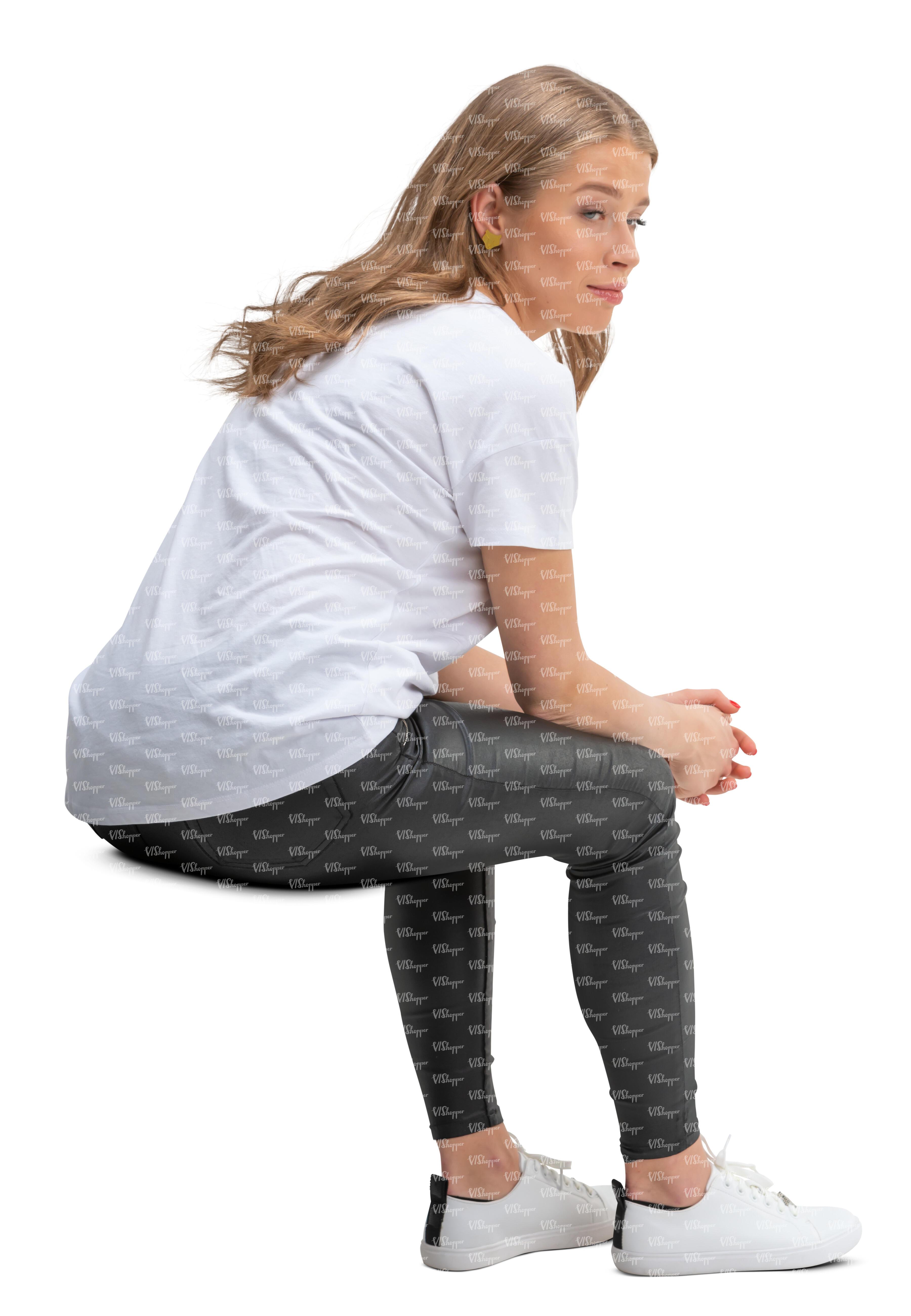 young woman sitting leaning forward - VIShopper