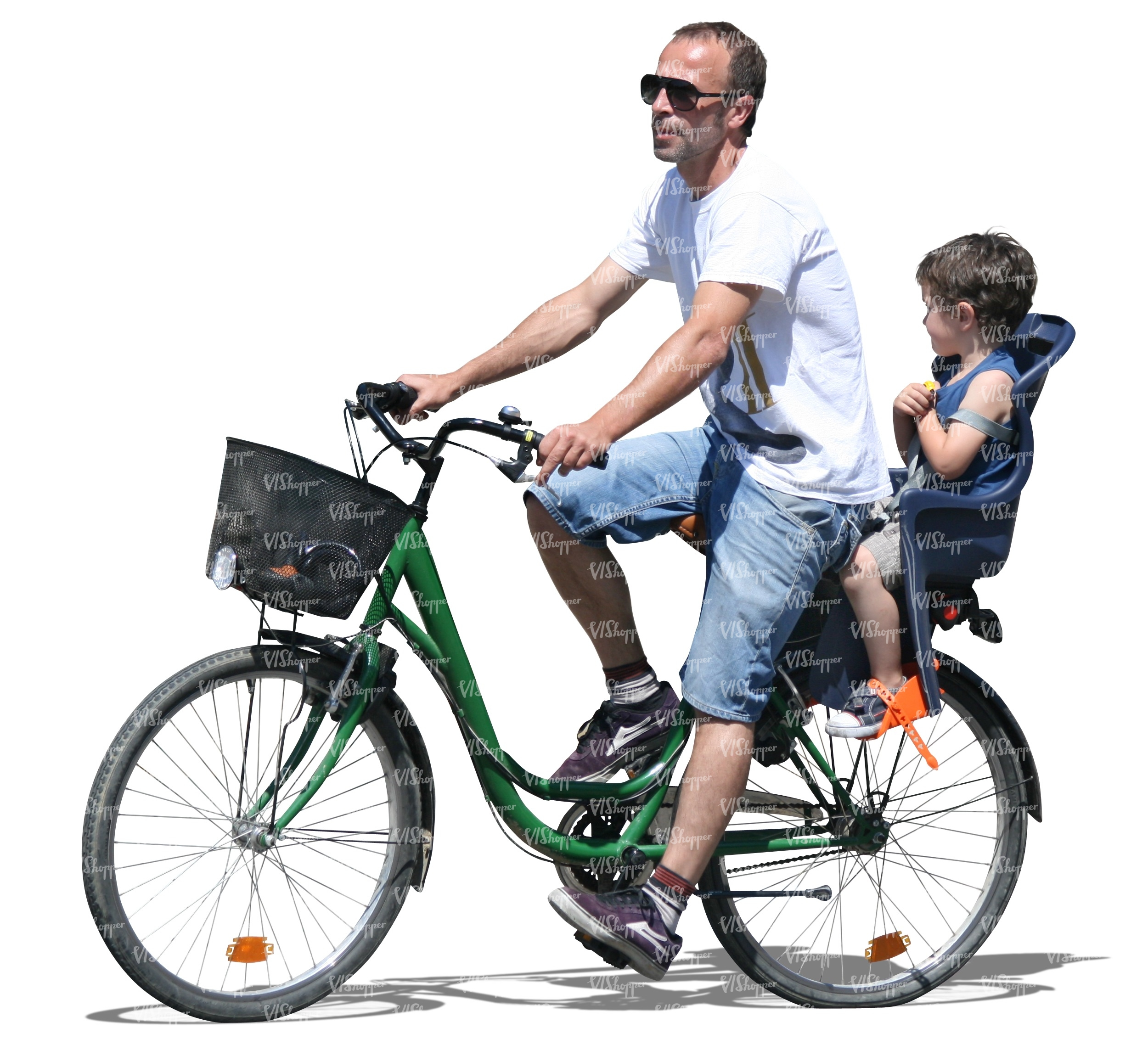 man riding a bike with a boy at back cut out people vishopper