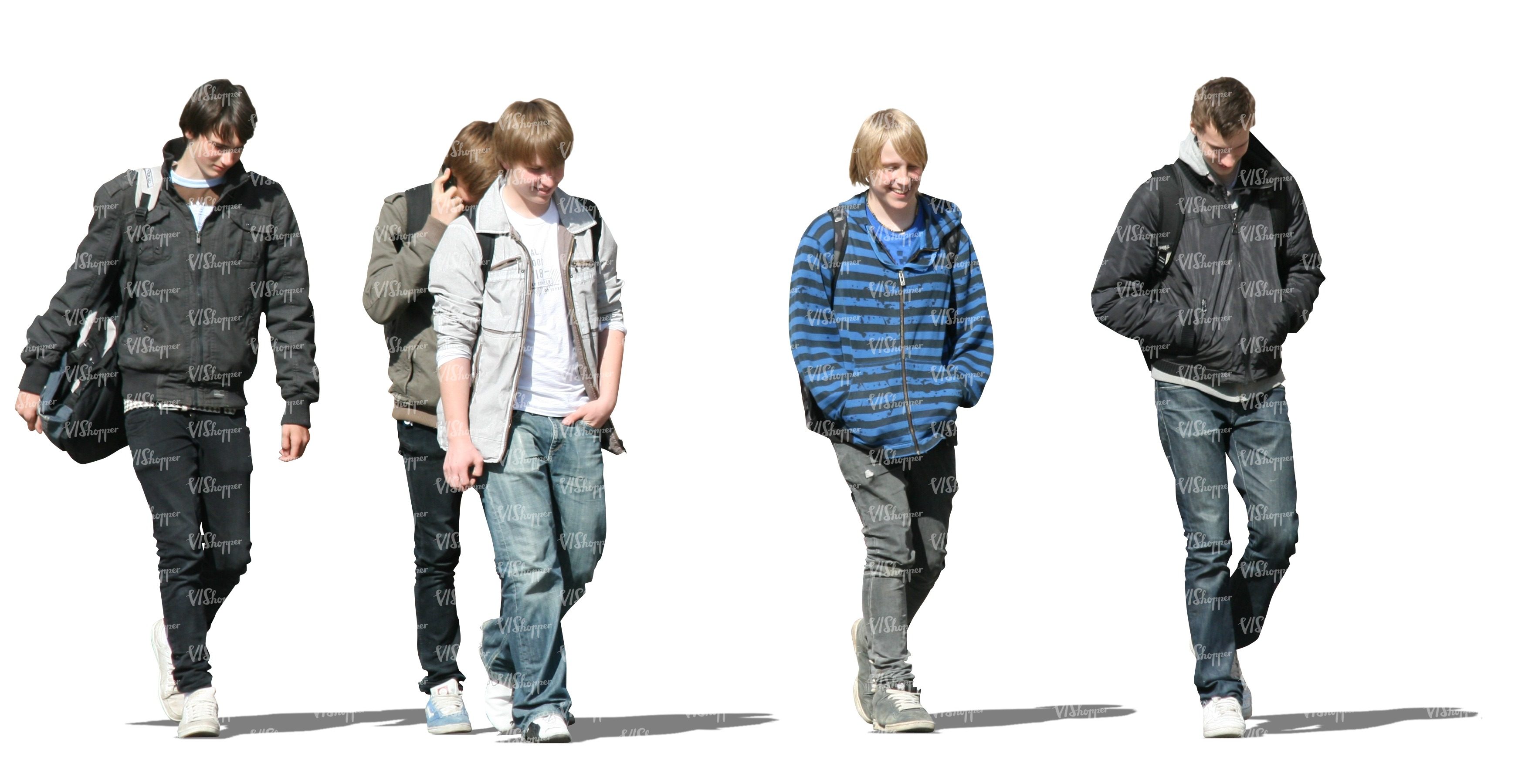 cut out group of teenage boys walking cut out people vishopper