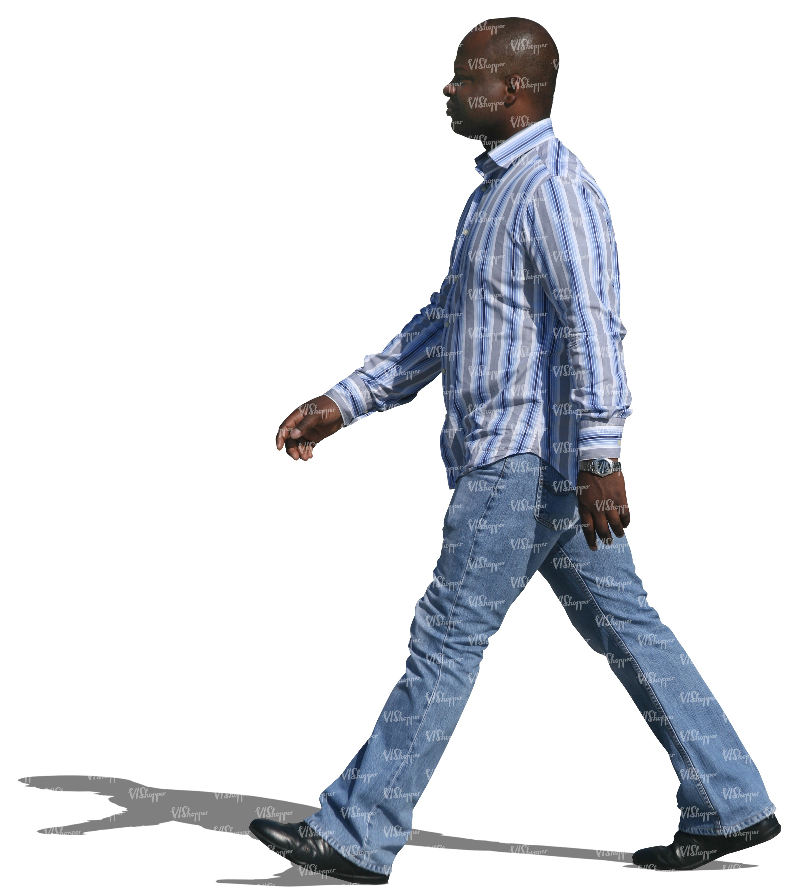 cut out black man in jeans walking cut out people. Black Bedroom Furniture Sets. Home Design Ideas