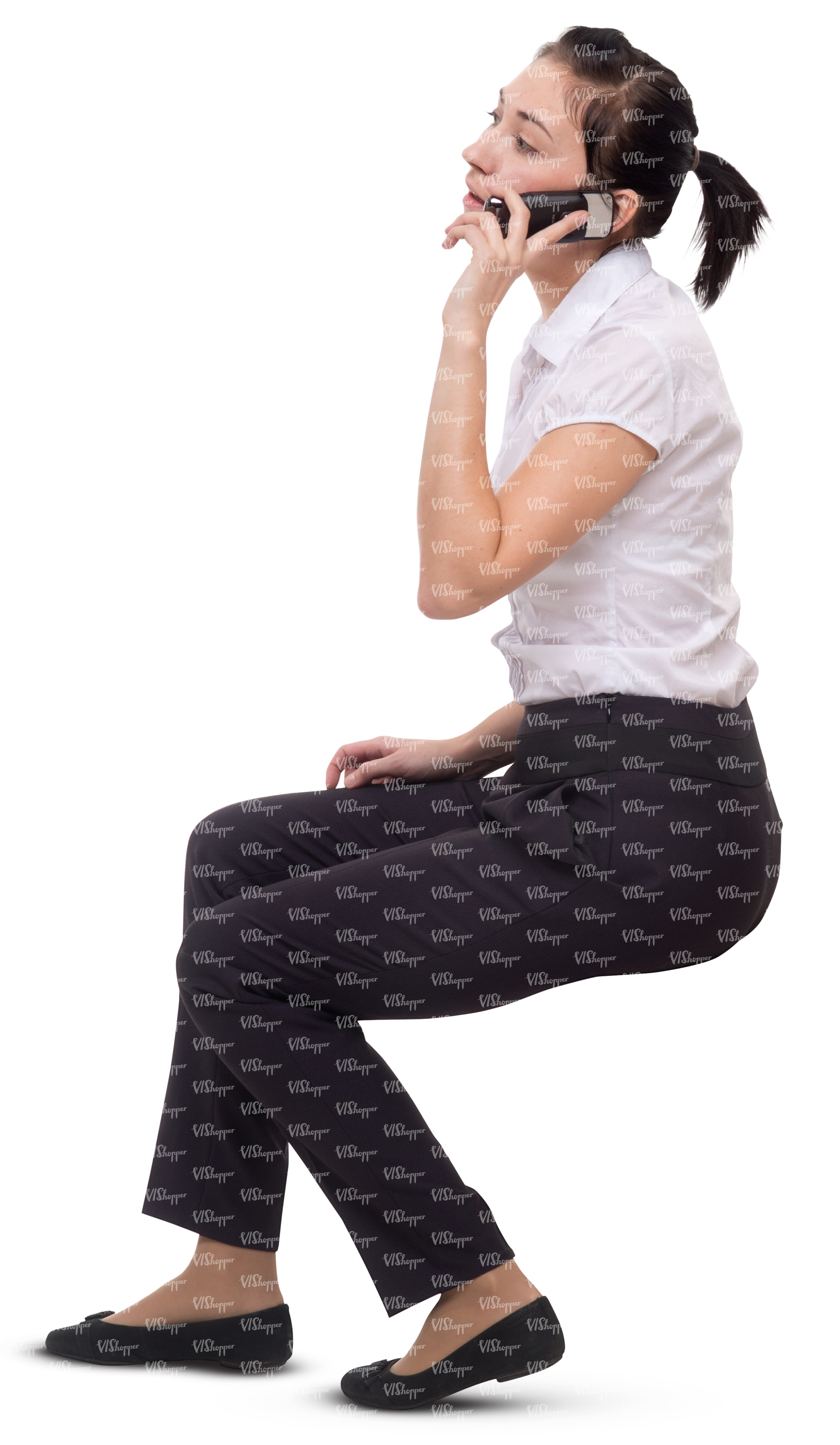 Office Worker Sitting And Talking On The Phone Cut Out