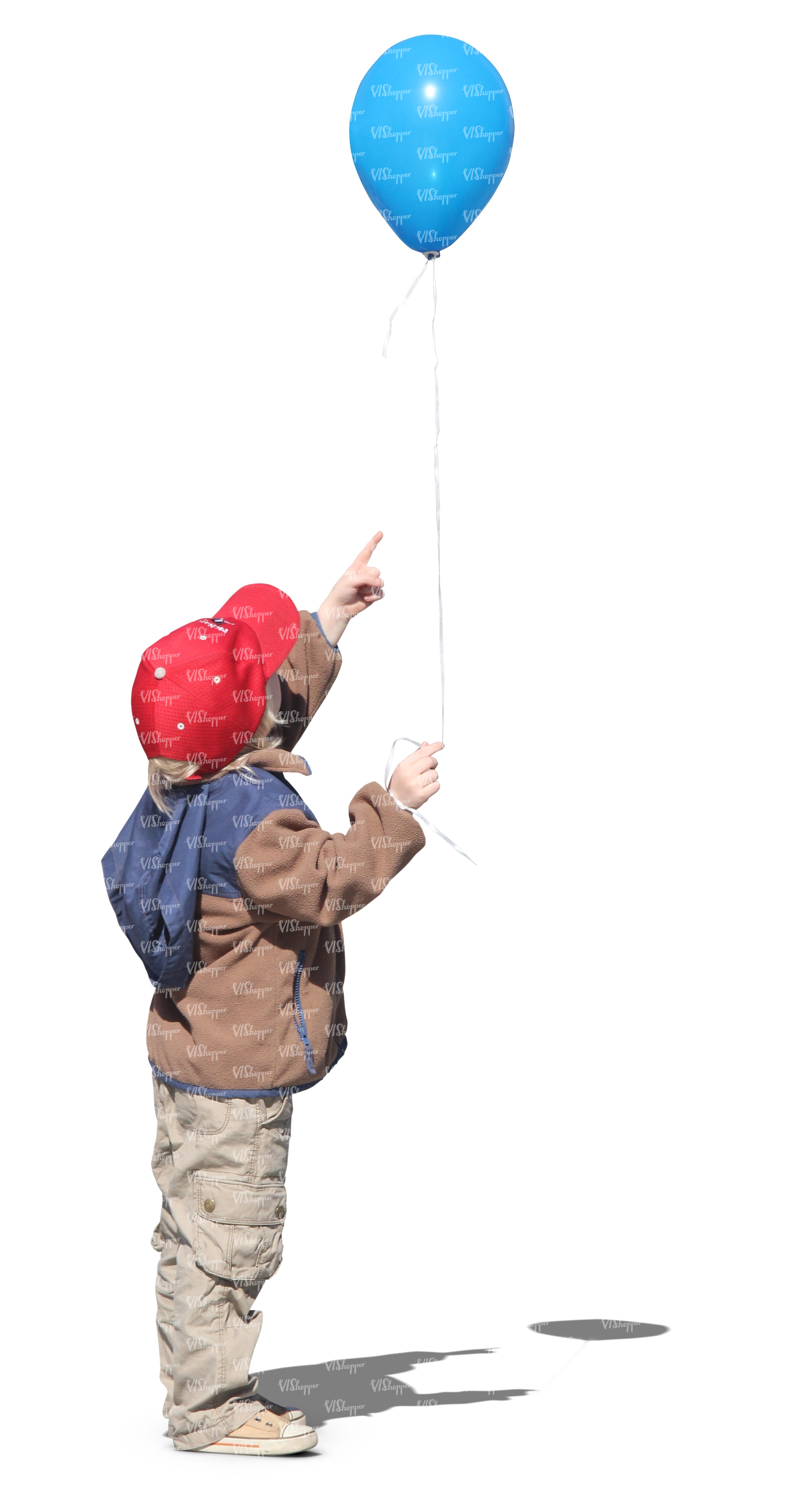 young boy with a red cap and a balloon cut out people