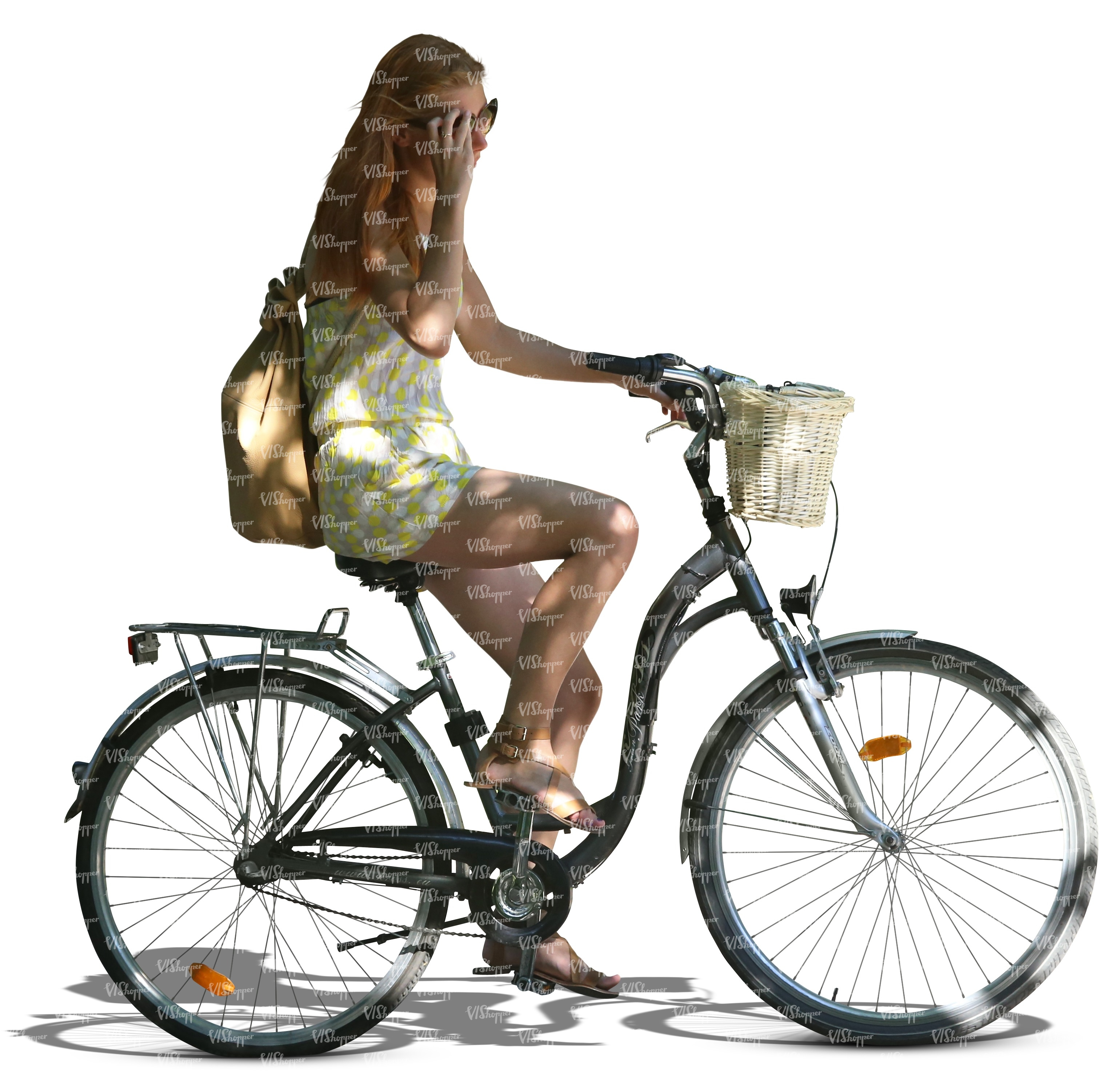 woman riding a bicycle cut out people vishopper