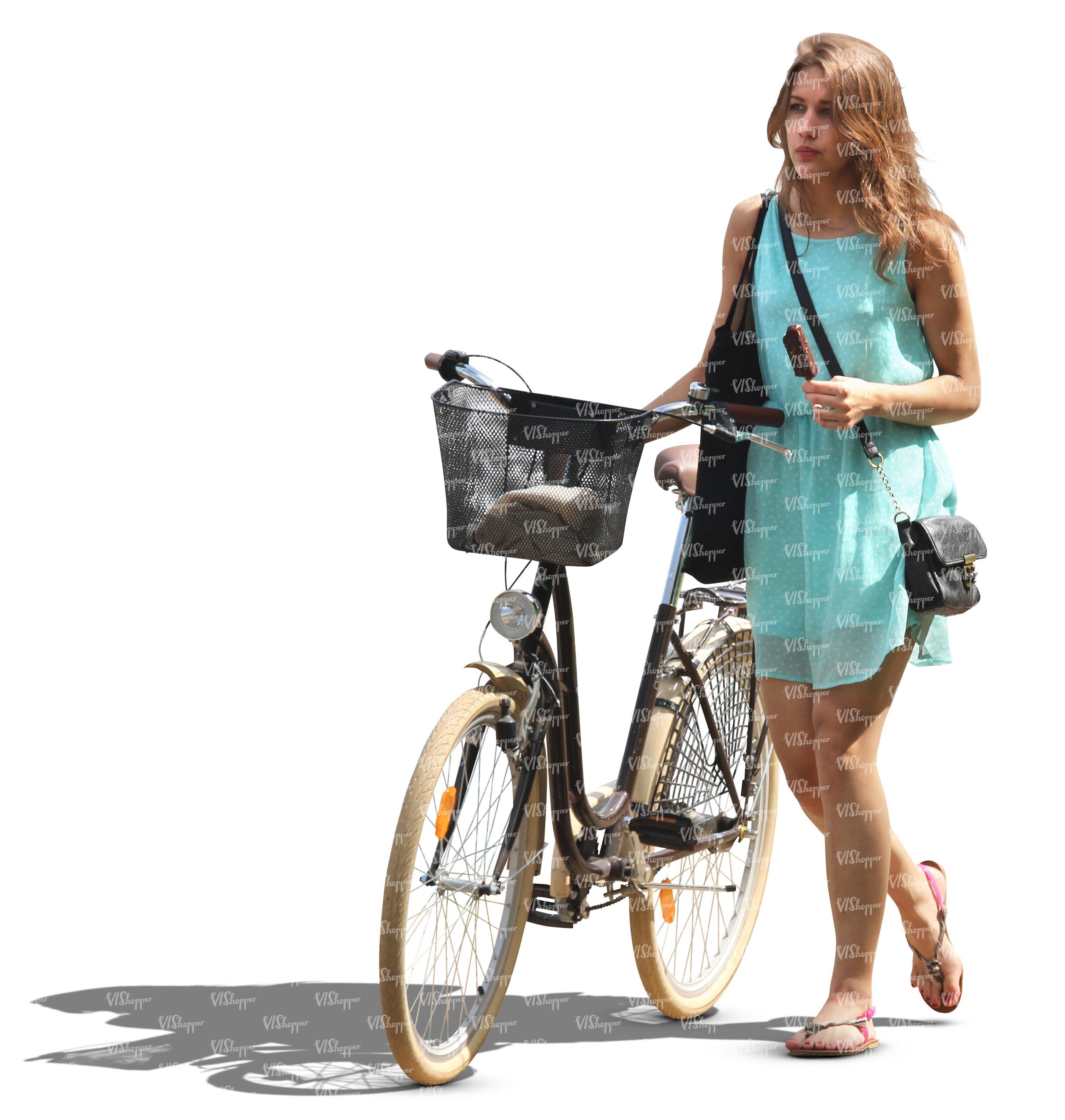 Woman In A Blue Dress Walking With A Bicycle Cut Out People