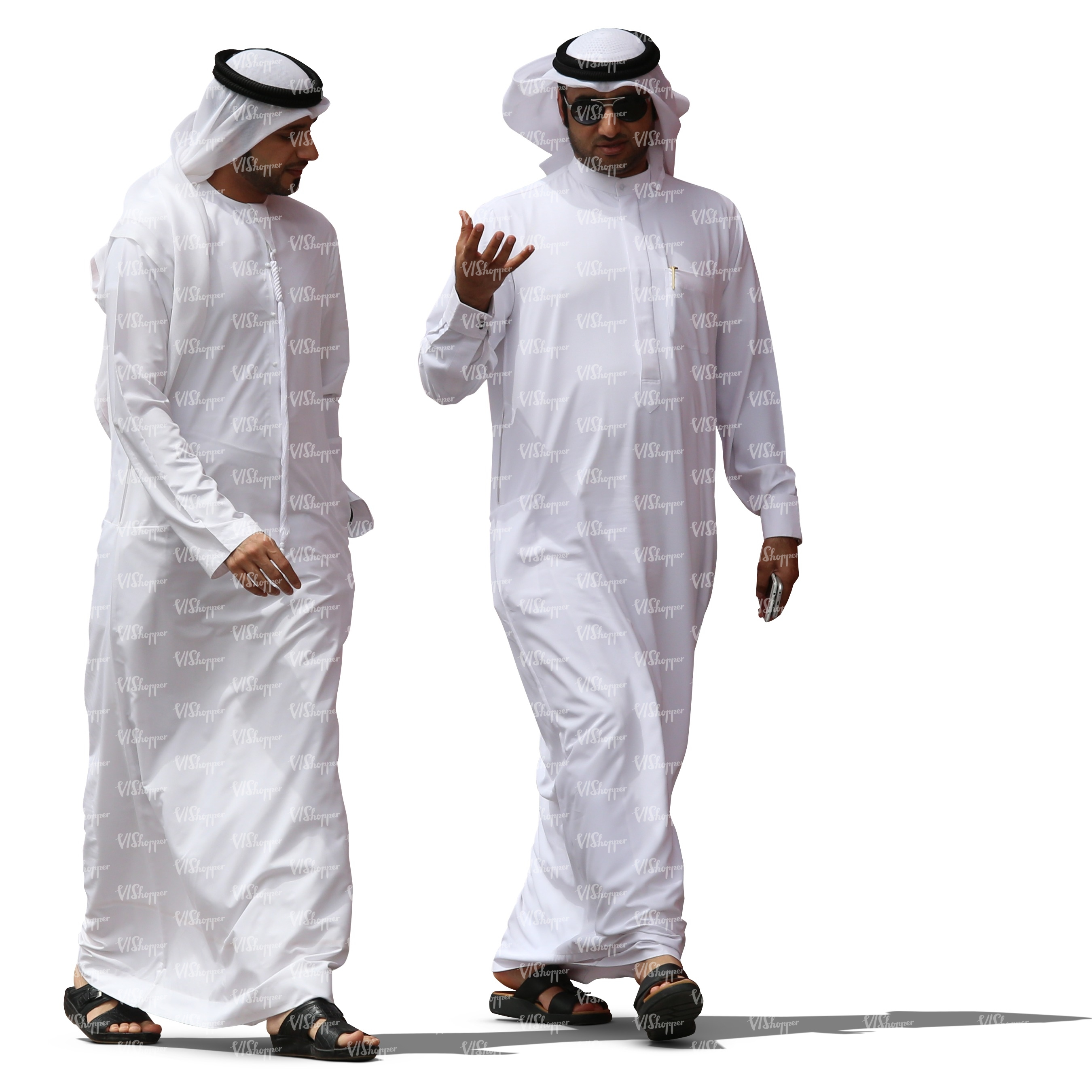 two arab men in white thobes walking and talking - cut out ...