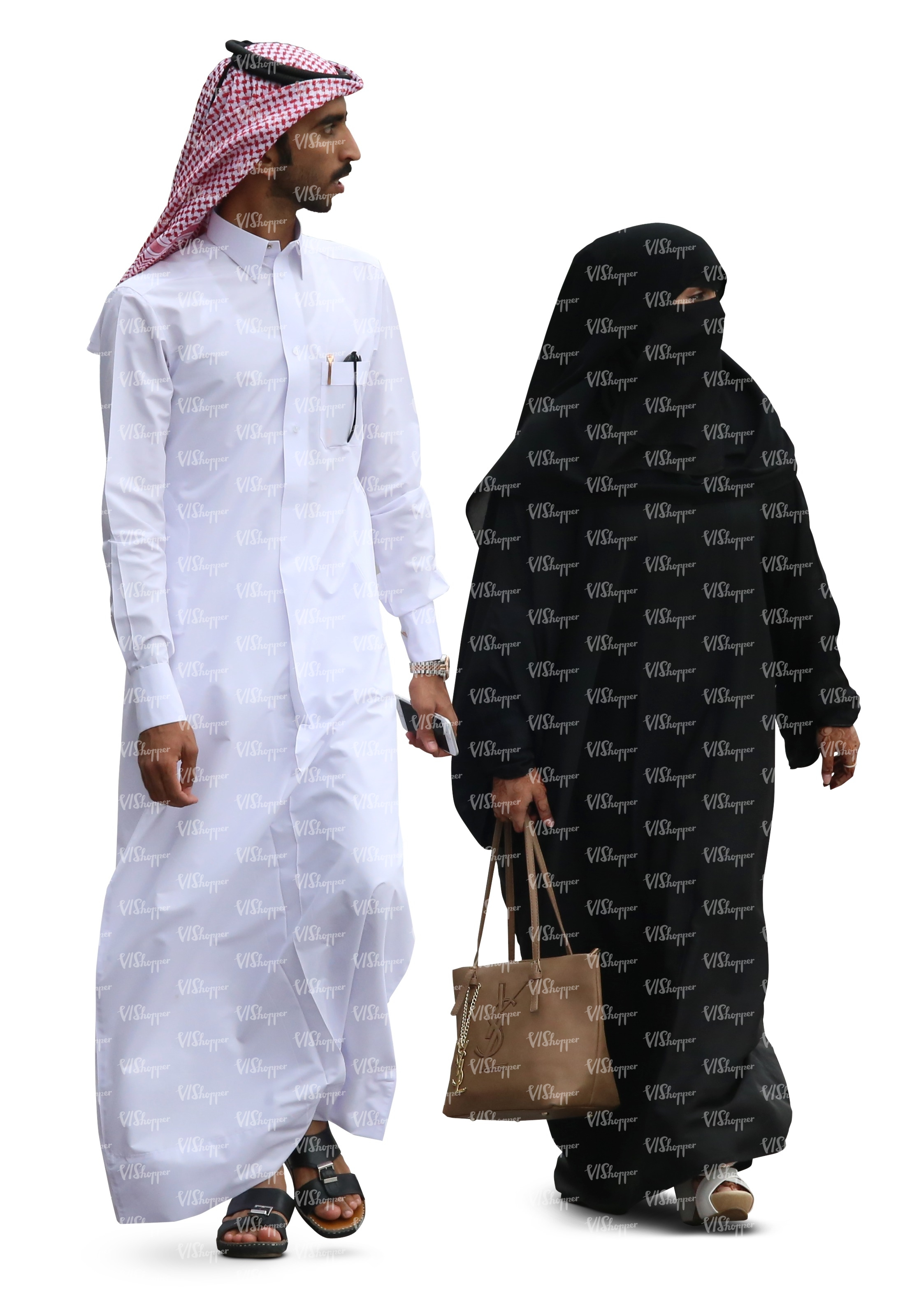 arab man and woman walking cut out people vishopper
