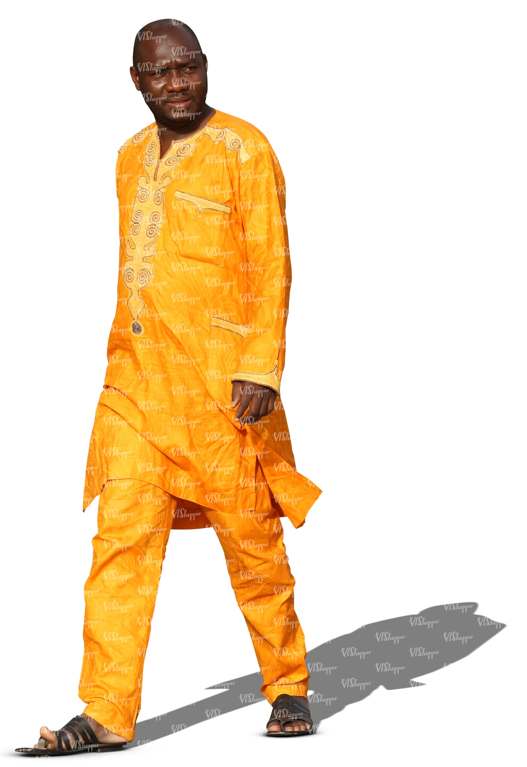 Cut Out Black Man Ethnic Clothes Walking