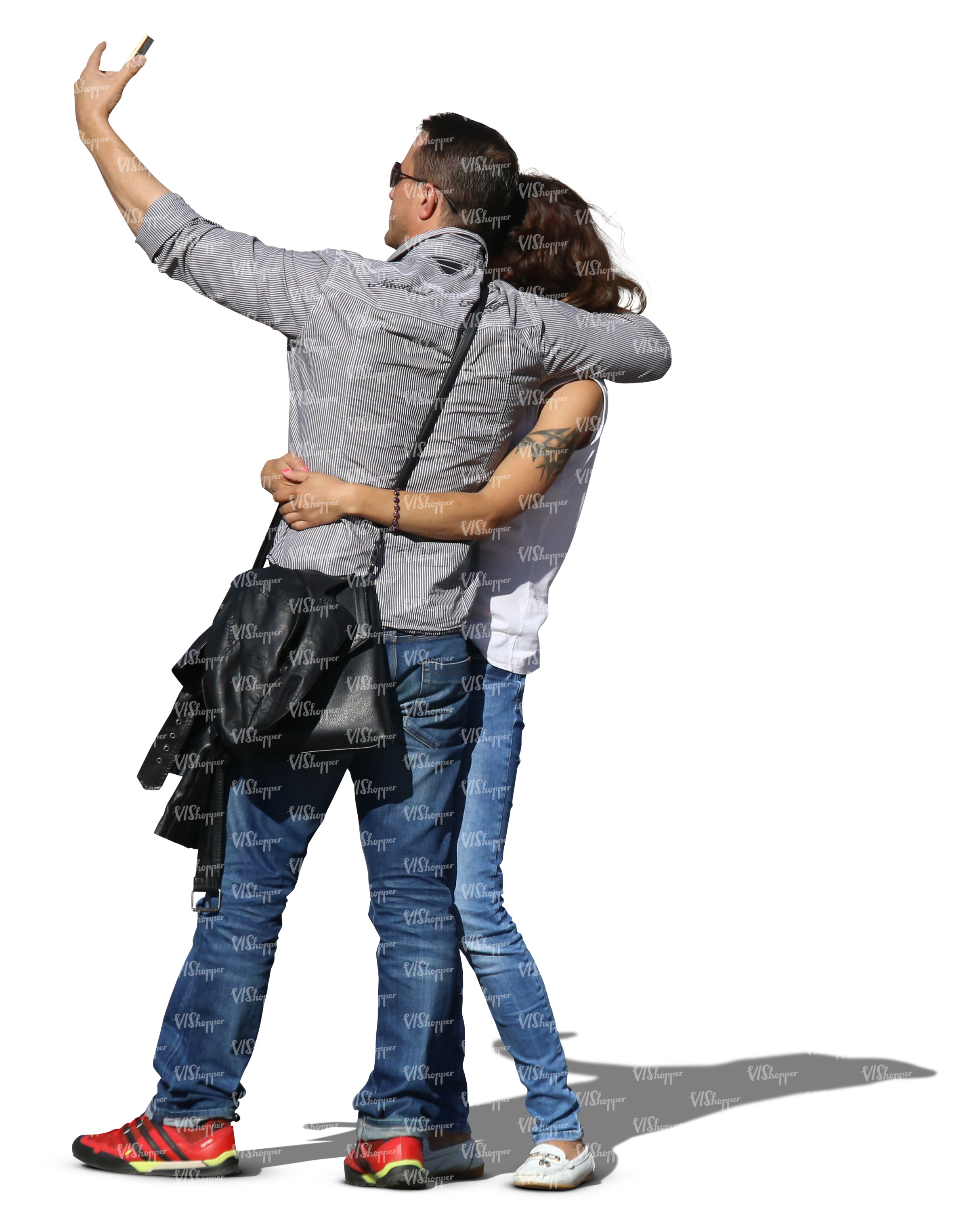 asian couple taking a selfie while hugging each other cut out people vishopper. Black Bedroom Furniture Sets. Home Design Ideas