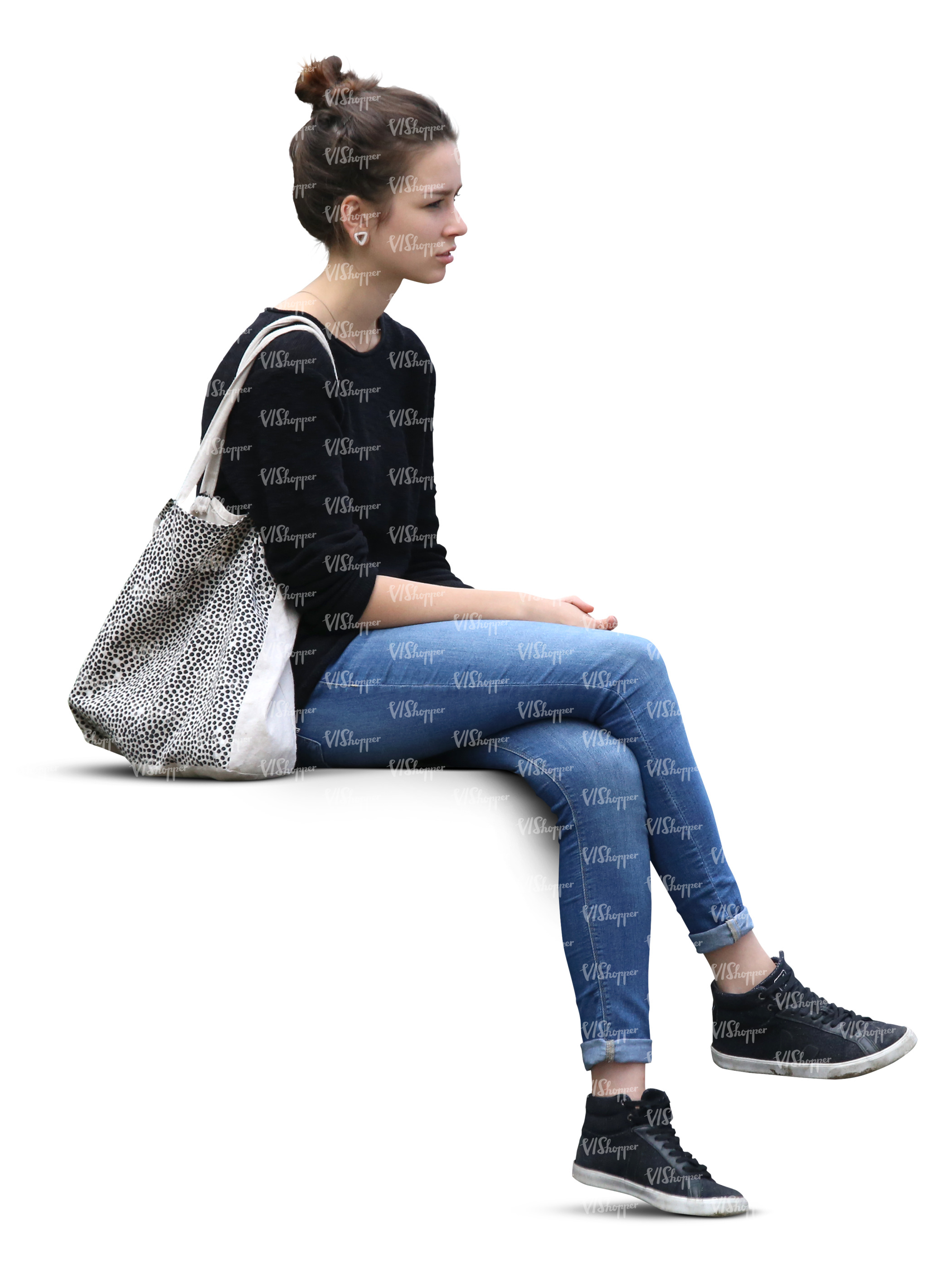 Young Woman Sitting In Shade Cut Out People Vishopper